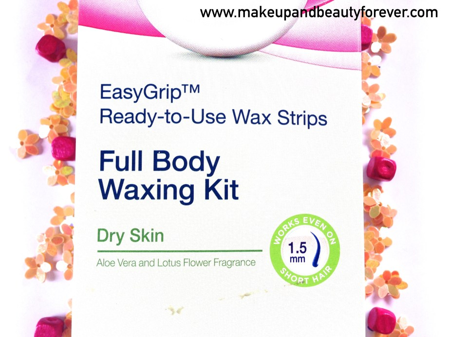 Veet Easy Grip Ready-to-Use Wax Strips Full Body Waxing Kit for Dry Skin with Aloe vera and lotus flower Review At home waxing