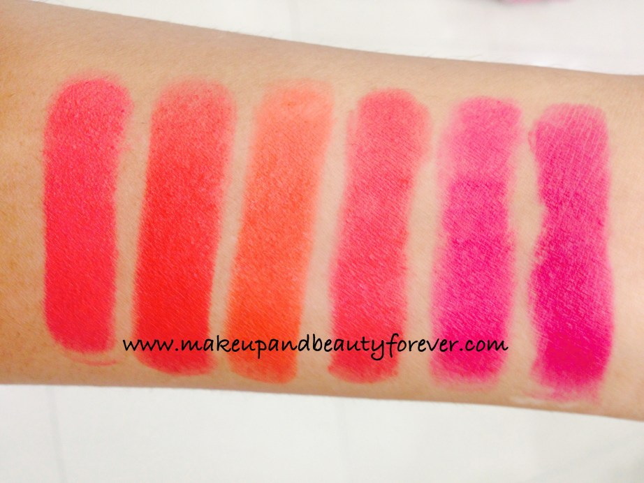 All Lakme Absolute Lip Pout Matte Lipstick Review Shades Swatches Victorian Rose Starlet Red Tangerine Touch Magenta Magic Indian Makeup and Beauty Blog