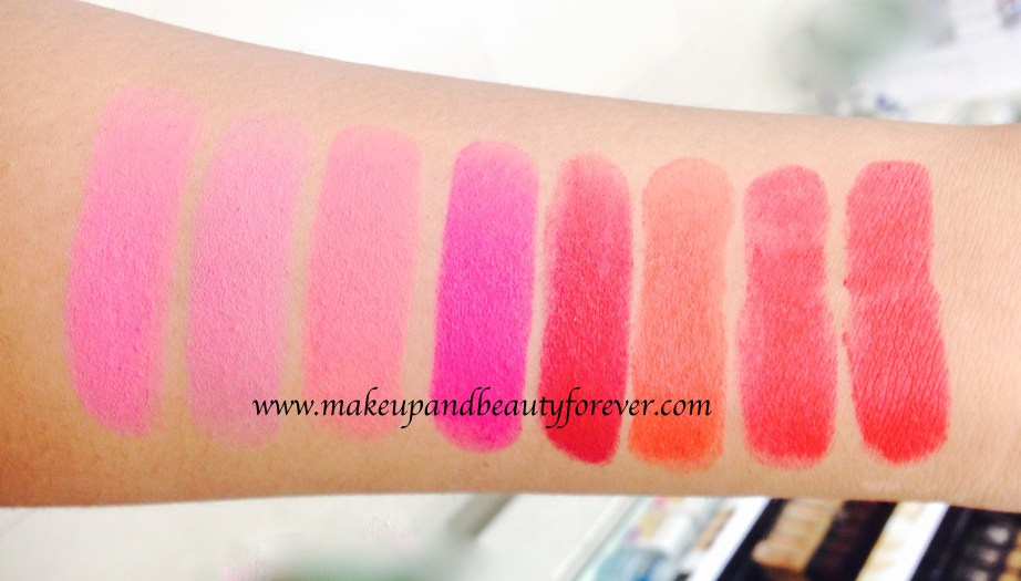 All Maybelline Color Show Matte Lipstick Review Shades Swatches Price India M201 Bold Crimson M202 Firecracker Red M203 Hot Chili M204 Red Carpet