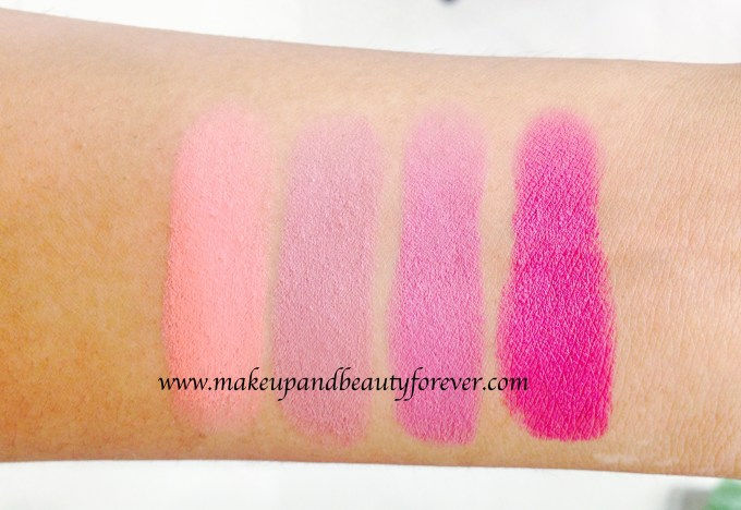 All Maybelline Color Show Matte Lipstick Review Shades Swatches Price India M303 Peach Personality M304 Mysterious Mocha M401 Lively Violet M402 Madly Magenta