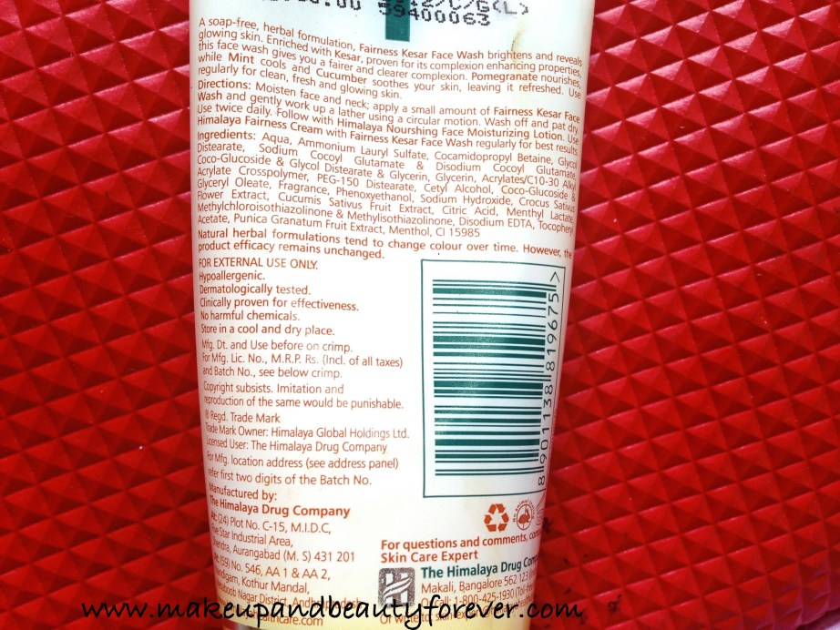 Himalaya Herbals Fairness Kesar Face Wash Review Ingredients
