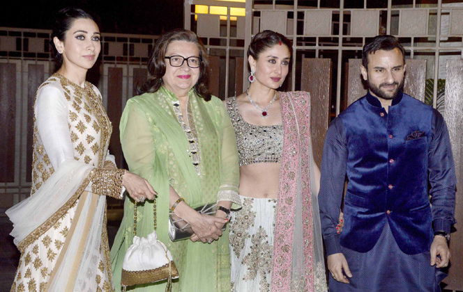 Karishma Babita Kareena Kapoor Saif at Soha Ali Khan Kunal Khemu Wedding Reception