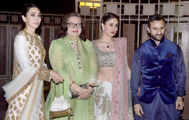 Karishma Babita Kareena Kapoor Saif at Soha Ali Khan Kunal Khemu Wedding Reception