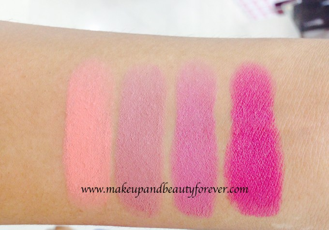 Maybelline Color Show Matte Lipstick Review Shades Swatches Price India M303 Peach Personality M304 Mysterious Mocha M401 Lively Violet M402 Madly Magenta