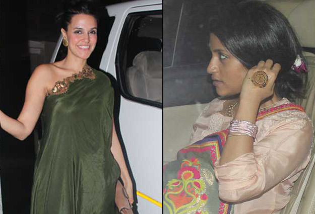 Neha dhupia and konkana sen sharma at soha weddeing mehendi ceremony on 23 jan in mumbai