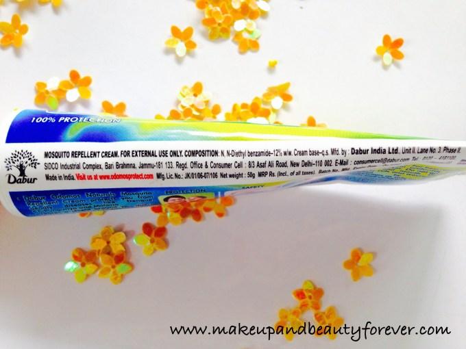 Dabur Odomos Naturals Mosquito Repellent Cream N N Diethyl Benzamide or DEET chemical