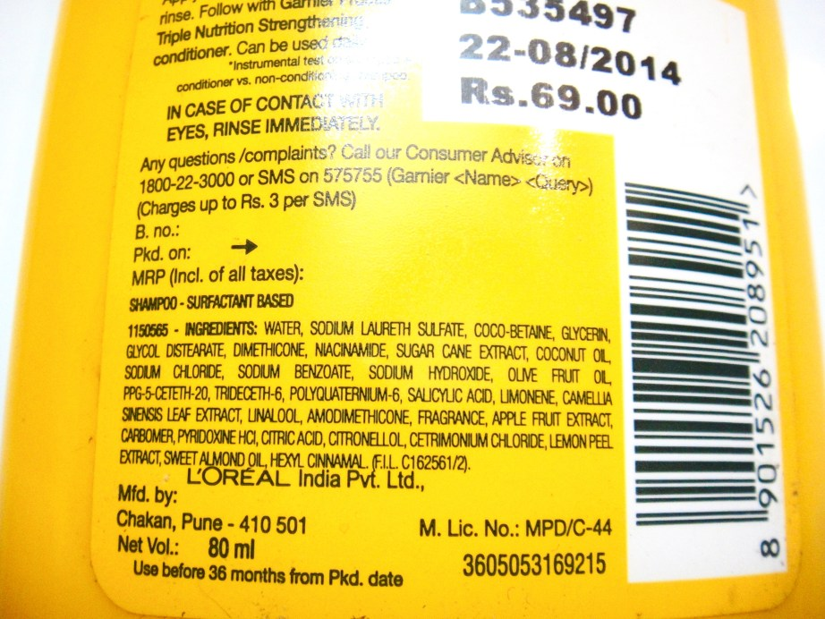 Garnier Fructis Triple Nutrition Strengthening Shampoo ingredients Review