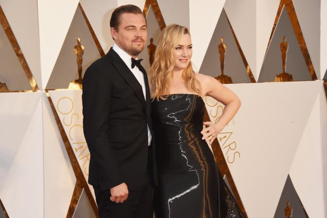Leonardo Dicaprio Kate Winslet black dress together Oscars 2016