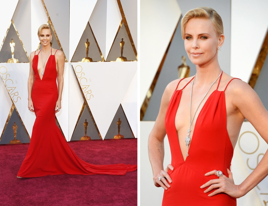 charlize theron oscars 2016 red gown diamond jewellery