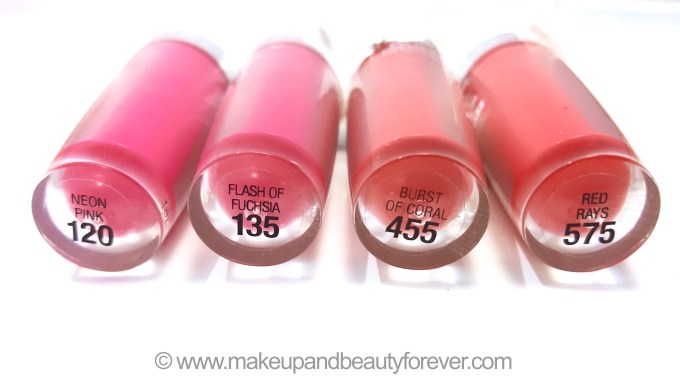All Maybelline Superstay 14H Megawatt Lipstick Neon Pink Flash of Fuchsia Burst of Coral Red Rays Review Swatch swatches buy price India Makeup and Beauty Blog