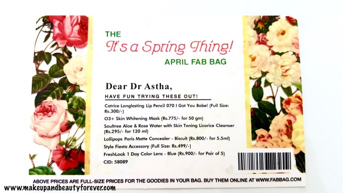 April Fab Bag 2016 - Its a Spring Thing Info
