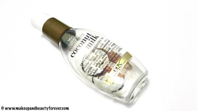 Organix Nourishing Coconut Milk Anti Breakage Serum Review Indian Makeup and Beauty Blog