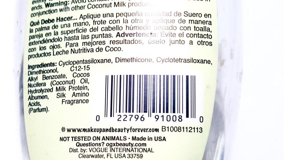 Organix Nourishing Coconut Milk Anti Breakage Serum Review Ingredients