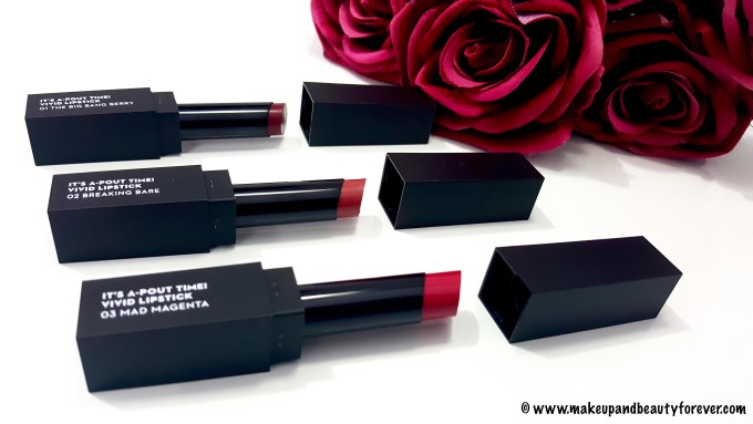 SUGAR It's A - Pout Time! Vivid Lipsticks The Big Bang Berry, Breaking Bare, Mad Magenta, coraline in the city details