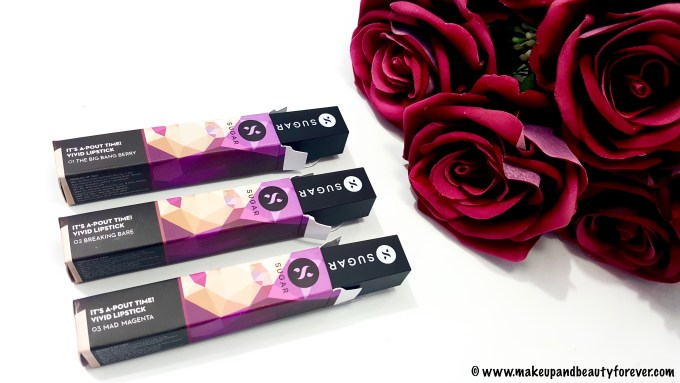 SUGAR It's A - Pout Time! Vivid Lipsticks The Big Bang Berry, Breaking Bare, Mad Magenta, coraline in the city swatches