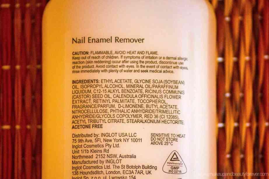 Inglot Nail Enamel Remover Review ingredients