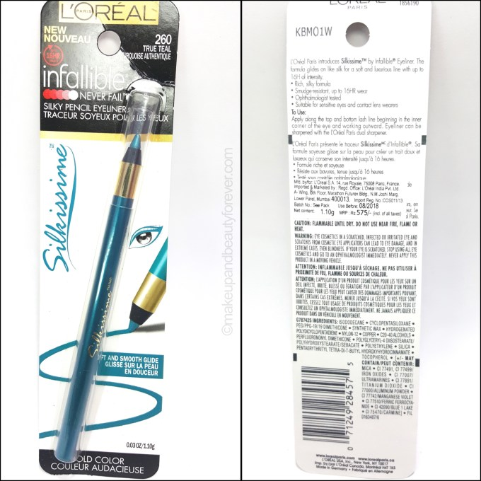 L'Oreal Infallible Silkissime Eyeliner True Teal Review Swatch Photos