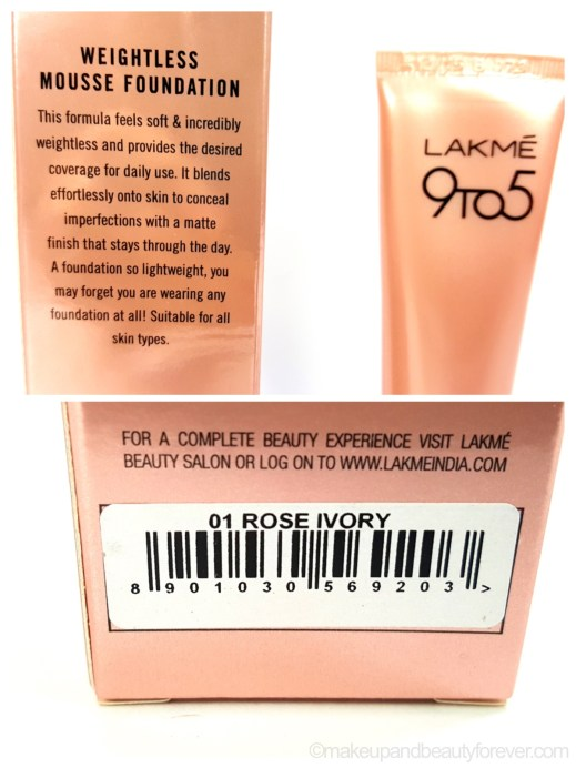 Lakme 9 to 5 Weightless Mousse Foundation Review Rose Ivory