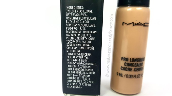MAC Pro Longwear Concealer Review ingredients