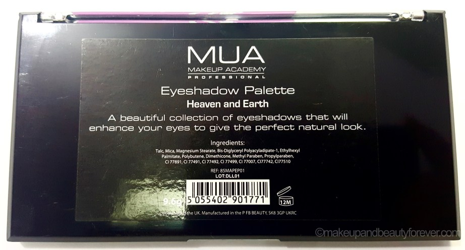 MUA Heaven and Earth Palette Review Swatches Ingredients