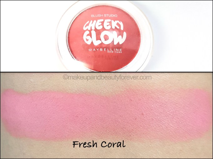 Maybelline Cheeky Glow Blush Fresh Coral Review swatches