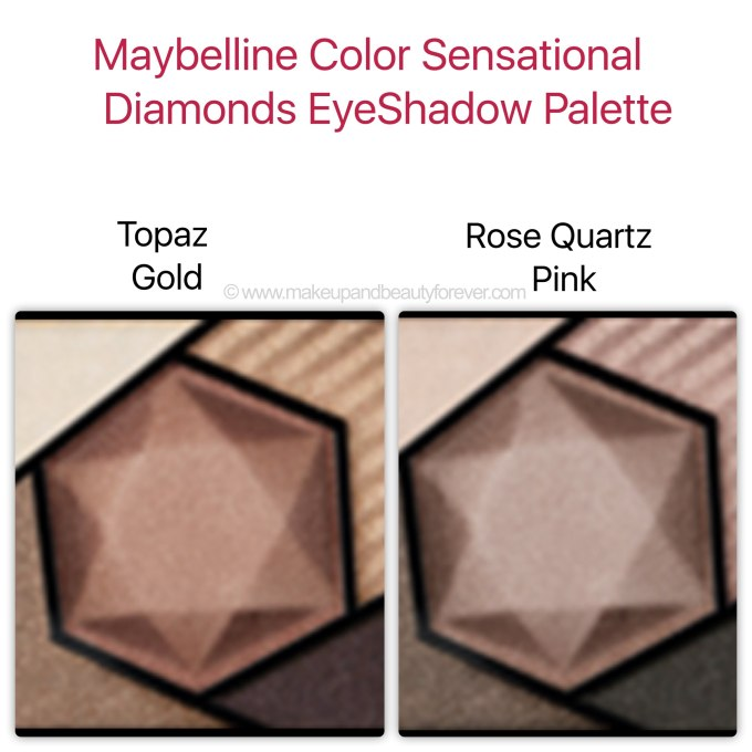 Maybelline Color Sensational Diamonds EyeShadow Topaz Gold Rose Quartz Pink Swatches