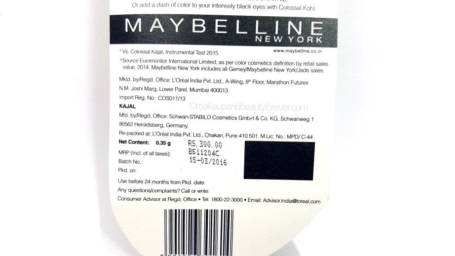 Maybelline Super Black Colossal Kajal Review MBF