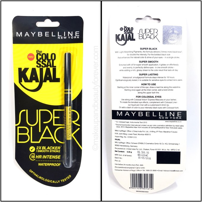Maybelline Super Black Colossal Kajal Review