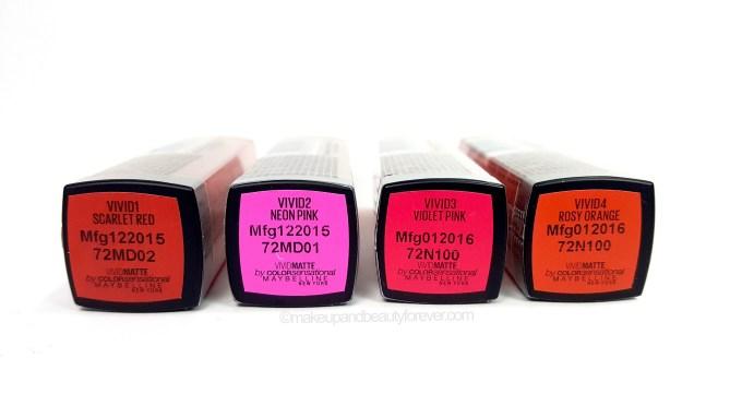 All Maybelline Vivid Matte Color Sensational Lipstick Review Shades Swatches Scarlet red neon pink violet pink rosy orange Price Details