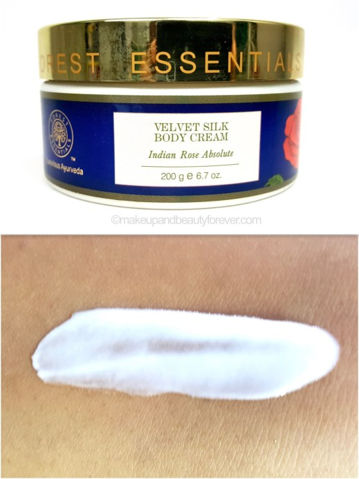 Forest Essentials Velvet Silk Body Cream Indian Rose Absolute Review swatch