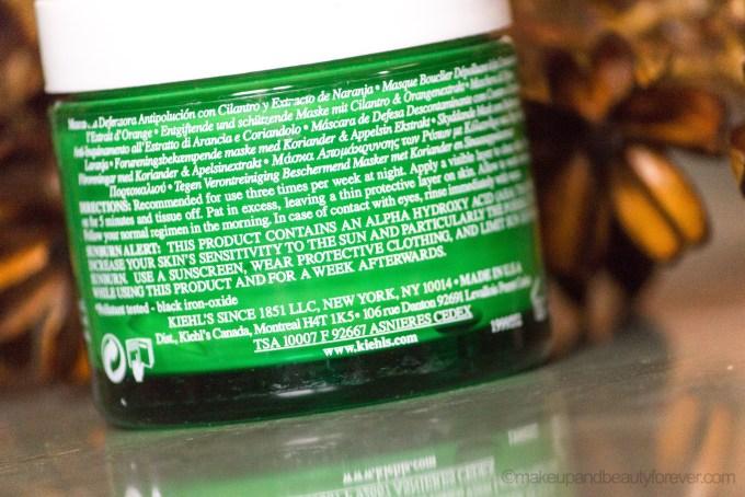 Kiehl's Cilantro & Orange Extract Pollutant Defending Masque Review ingredients