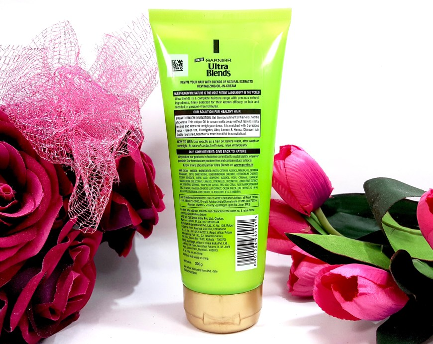 Garnier Ultra Blends 5 Precious Herbs Oil In Cream Oil Replacement Cream Review back