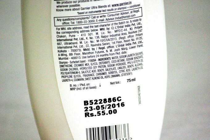 Garnier Ultra Blends Soy Milk Almonds Intense Repair Shampoo Review ingredients