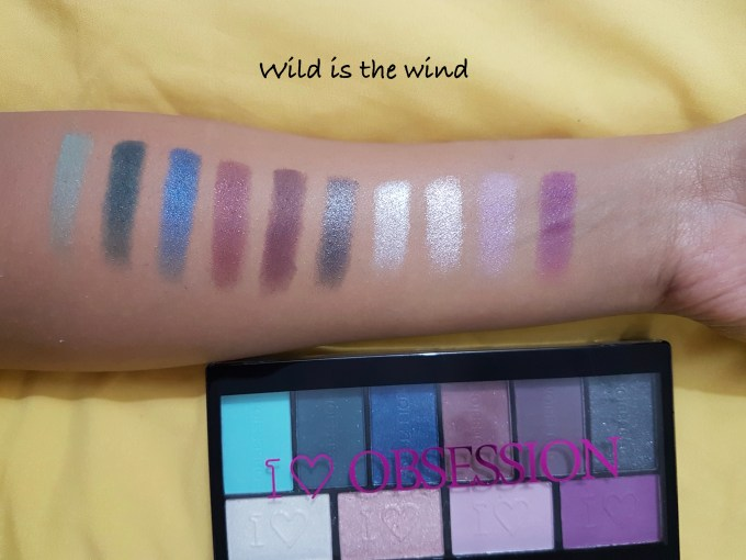 Makeup Revolution I ♡ MAKEUP I ♡ OBSESSION EyeShadow Palette Wild is the Wind shades Review Swatches
