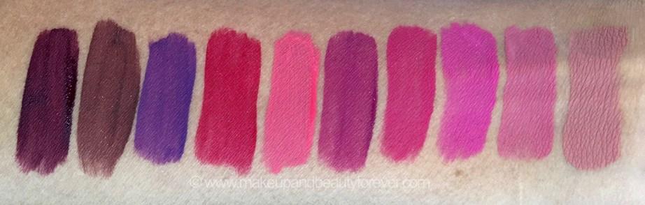 All Inglot HD Lip Tint Matte Liquid Lipsticks 10 Shades Review Swatches Shade No. 20, 18, 19, 12, 11, 15, 13, 14, 16, 17 mbf blog