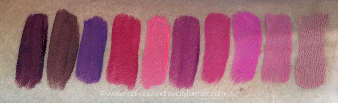 All Inglot HD Lip Tint Matte Liquid Lipsticks 10 Shades Review Swatches Shade No. 20, 18, 19, 12, 11, 15, 13, 14, 16, 17 mbf
