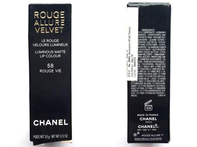 Chanel Rouge Allure Velvet Luminous Matte Lip Colour 58 Rouge Vie Review Packaging