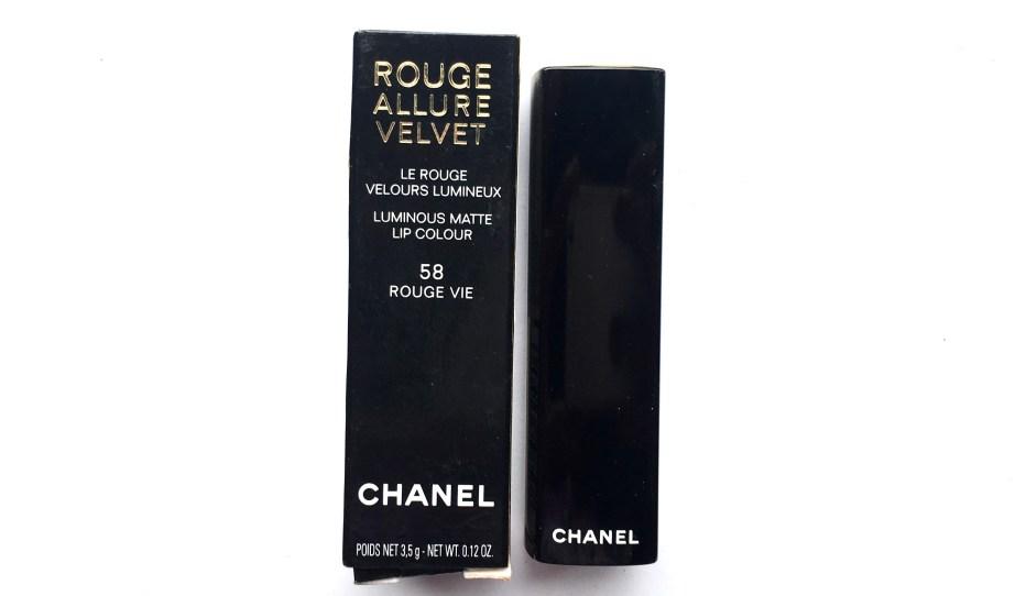 Chanel Rouge Allure Velvet Luminous Matte Lip Colour 58 Rouge Vie Review Swatches mbf