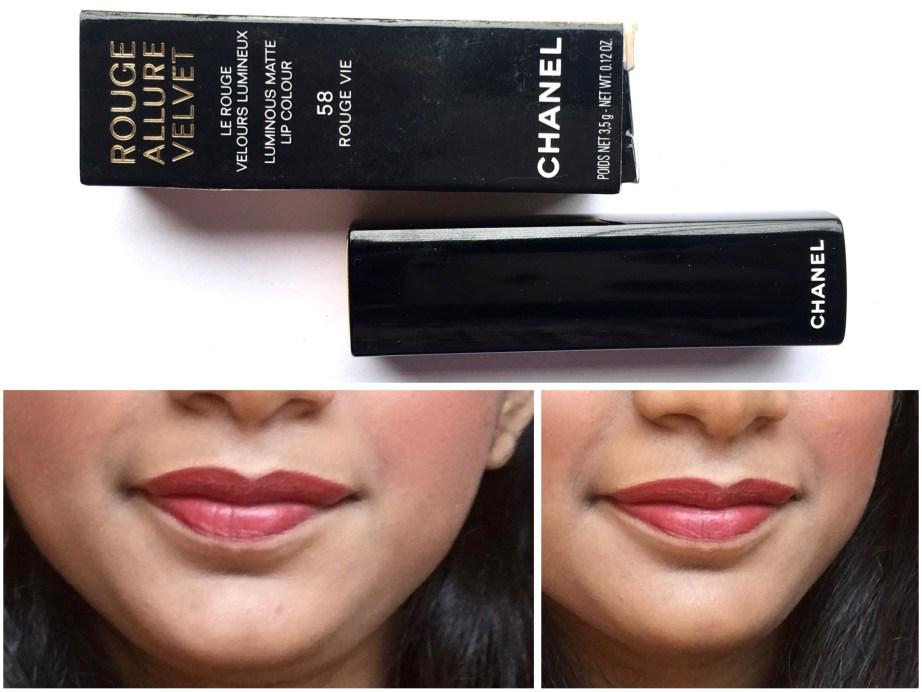 Chanel Rouge Allure Velvet Luminous Matte Lip Colour 58 Rouge Vie Review Swatches on lips