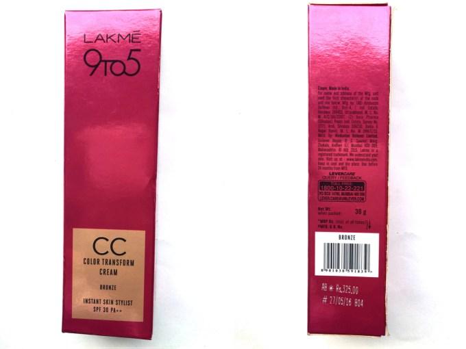 Lakme 9 To 5 Color Transform CC Cream packaging