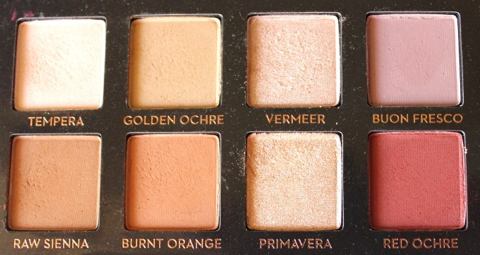 Anastasia Beverly Hills Modern Renaissance Palette Review Swatches Tempera Golden Ochre Vermeer Buon Fresco Raw Sienna Burnet Orange Primavera Red Ochre