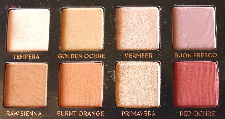 Anastasia Beverly Hills Modern Renaissance Palette Review Swatches Tempera Golden Ochre Vermeer Buon Fresco Raw Sienna Burnet Orange Primavera Red Ochre