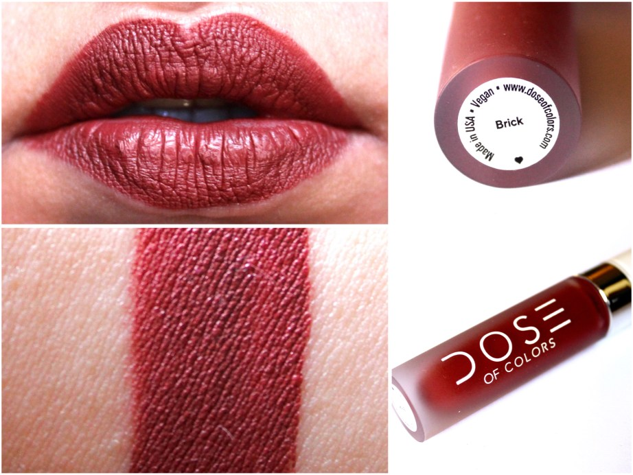 Dose of Colors Matte Liquid Lipstick Brick Review Swatches MBF Makeup Blog
