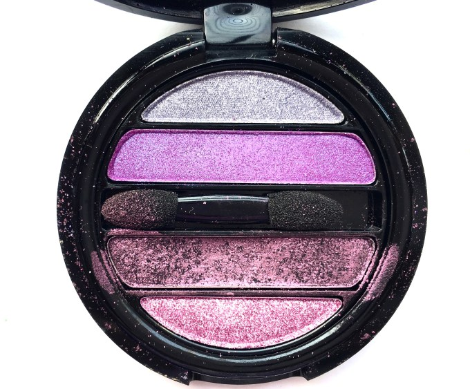Faces I Shine Eye Shadow Quartet Purple Review Swatches focus