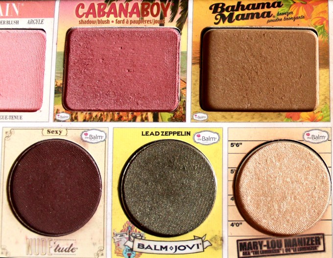In the Balm of Your Hand Palette Review Swatches Cabana Boy Bahama Mama Nudetude Sexy Balm Jovi Mary Lou Manizer