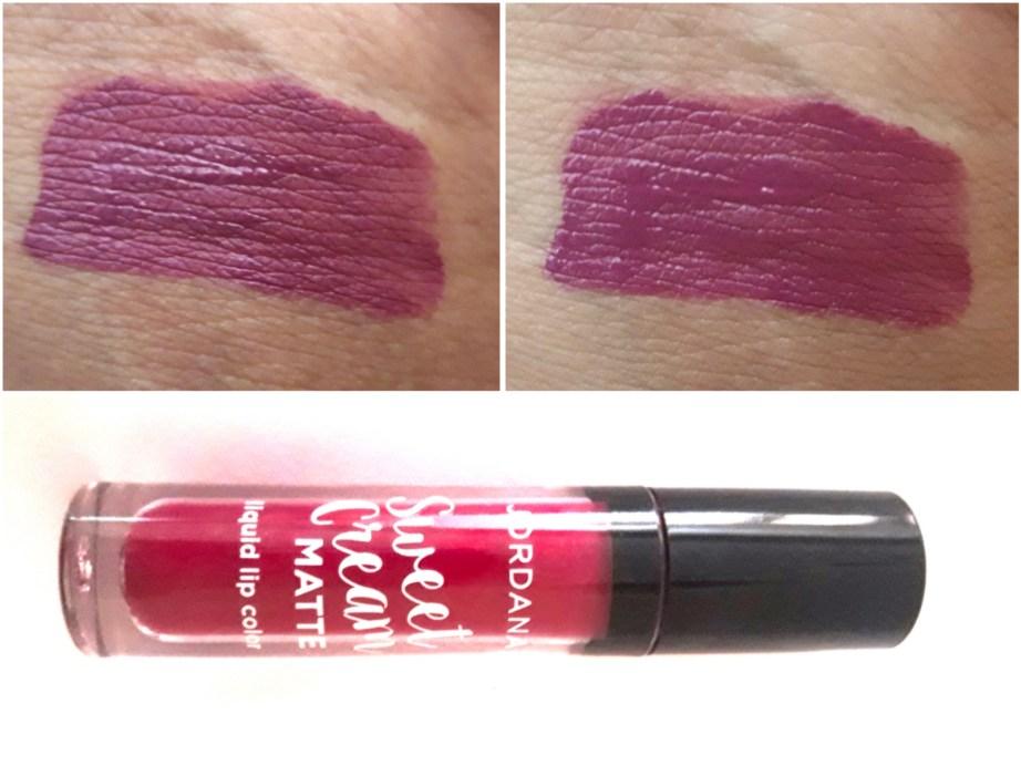Jordana Sweet Cream Matte Liquid Lipstick Sugared Plum Review Swatches on hand