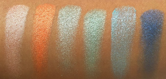BH Cosmetics Galaxy Chic Baked Eyeshadow Palette Review Swatches Saturn Venus Meteor Comet Earth Neptune finger swatch