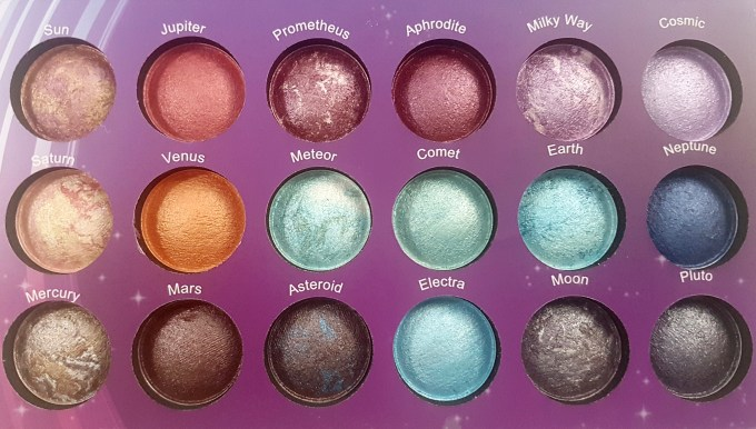 BH Cosmetics Galaxy Chic Baked Eyeshadow Palette Review Swatches all shades