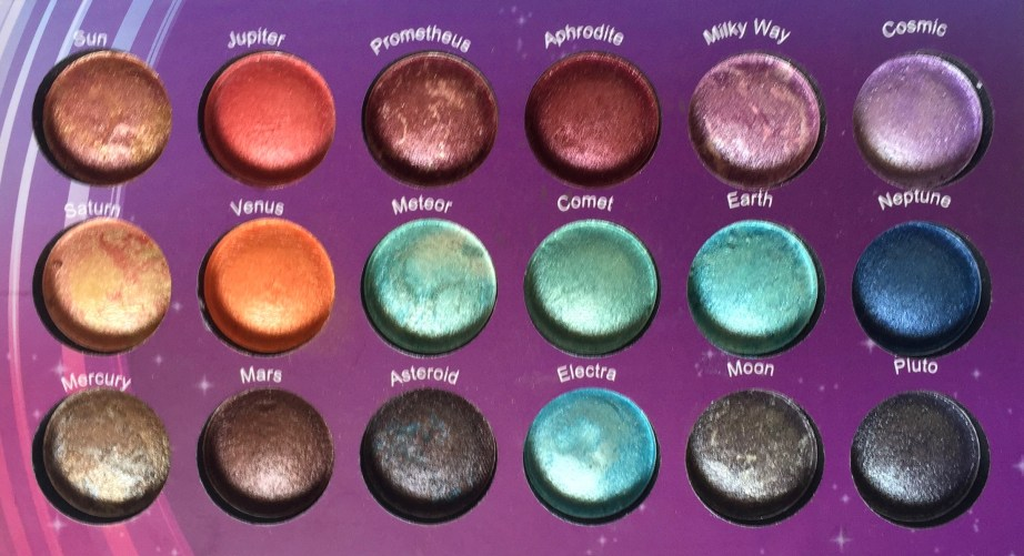 BH Cosmetics Galaxy Chic Baked Eyeshadow Palette Review Swatches closeup