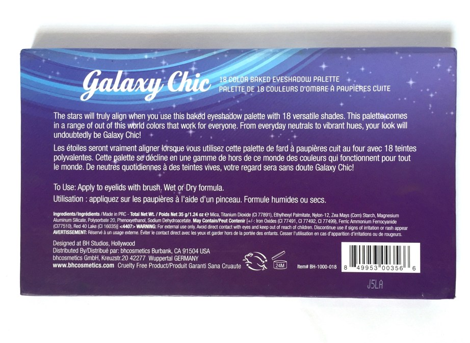 BH Cosmetics Galaxy Chic Baked Eyeshadow Palette Review Back